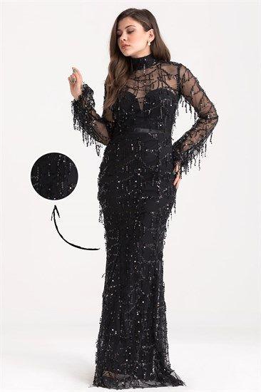 Pullu Astar Detay Uzun Abiye Siyah The Dress Elbise Modelleri Elbise