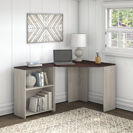 Bush Furniture Townhill Corner Desk With Bookcase In Washed Gray