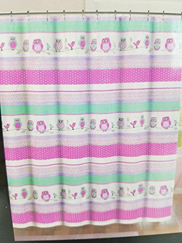Cynthia Rowley Owls And Birds Shower Curtain In Pink And Green 72