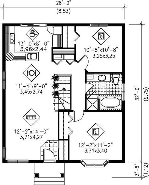 Bungalow House Plan 2 Bedrms 1 Baths 896 Sq Ft 157 1047 Small House Plans Cottage Style House Plans Bungalow House Plans