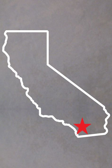 California Outline with star. Available in 4 sizes. The California outline comes in white. Choose a heart or a star and the heart or star color.