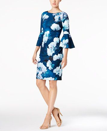 Calvin Klein Floral Print Bell Sleeve Sheath Dress Macys Com Bridemaid Dress Bell Sleeve Dress Long Sleeve Dress
