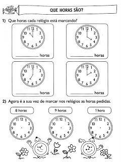 Plano De Aula Horas Com Imagens Atividades De Matematica