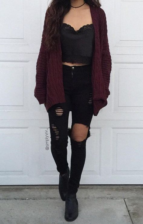 Black ripped jeans with a lace black top and burgundy cardigan. Visit Daily Dress Me at dailydressme.com for more inspiration                      women's fashion 2018, fall fashion, casual outfits, distressed jeans, school outfits, crop tops, women's blouses, sweaters, cardigans,