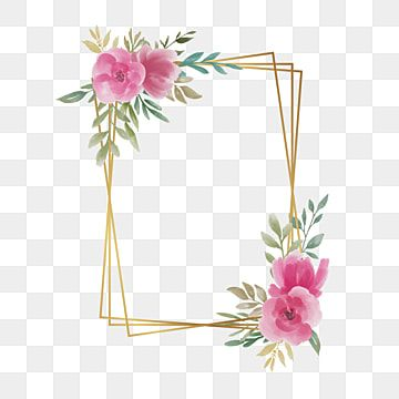Wedding Frame With Watercolor Flowers And Square Gold Border Frame Watercolor Floral Png And Vector With Transparent Background For Free Download In 2021 Watercolor Flower Wreath Flower Frame Png Flower Border Png