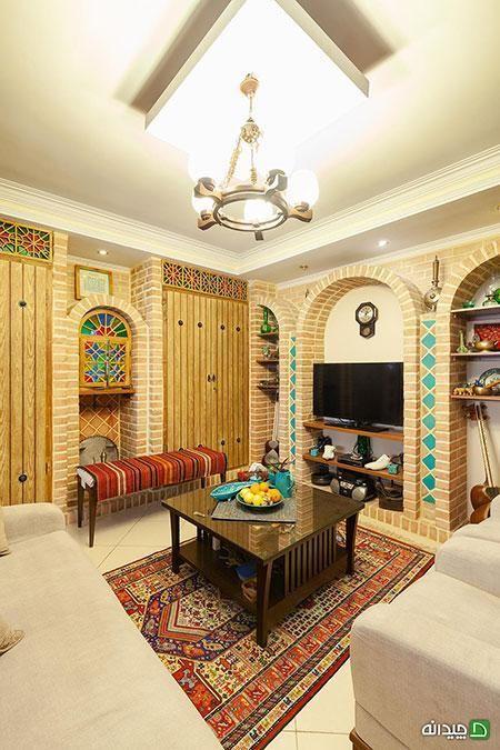 دکوراسیون سنتی خانه سارا و حامد ایرانی تمام عیار است وب سایت چیدانه فرهنگ ایران پر است از عناصر و المان هایی Home Design Living Room Home Decor House Design