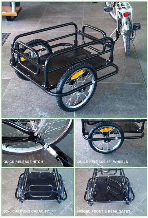 """Bicycle Cargo/Dog Trailer. QUICK RELEASE HITCH. MAX LOAD : 60 KG. QUICK RELEASE 16"""" STEEL SPOKED WHEELS. SPOKED WHEELS 16"""" (40cm). ATTACHES TO REAR AXLE / QUICK RELEASE SKEWER. 