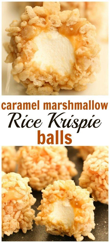 Caramel Marshmallow Rice Krispie Balls | Six Sisters' Stuff These are so easy to make, only 5 ingredients, and perfect for a movie night or party! #ricekrispies #dessert