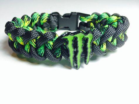Monster Energy Paracord Bracelet + FREE SHIPPING (Black / Yellow / Green) Monster Energy Gear, Monster Energy Clothing, Monster Energy Girls, Love Monster, Monster Crafts, Fox Racing, Auto Racing, Green Monsters, Wedding Tattoos