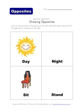 Draw The Opposite Day Night And Sit Stand All Kids Network Opposites Opposite Words Night Opposites preschool worksheets