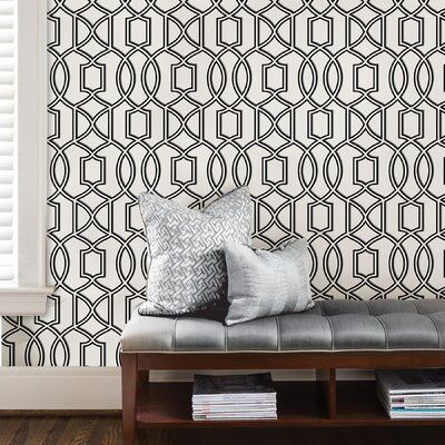 Winston Porter Seabeck 18 X 20 5 Peel And Stick Wallpaper In 2021 Peel And Stick Wallpaper Removable Wallpaper Black And White Wallpaper
