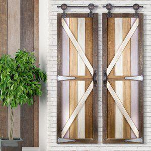 Barnyard Doors Wood Metal Hanging Wall Du00e9cor Barnyard Classic Decor Farmhouse Wall Decor Classic Home Decor Modern Farmhouse Decor
