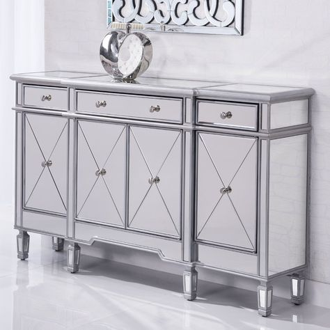 Contempo 60 Wide 3 Drawer Sideboard Mirrored Sideboard Cabinet Accent Chests And Cabinets