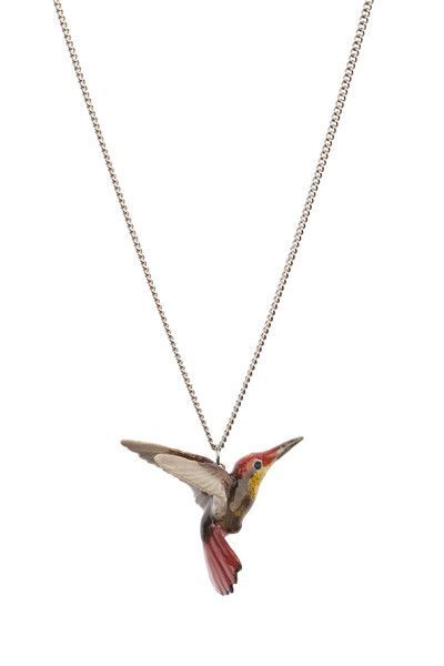 """Silver Tone Green Hummingbird 1/"""" Pendant Necklace Rhodium Plated Gift Boxed"""