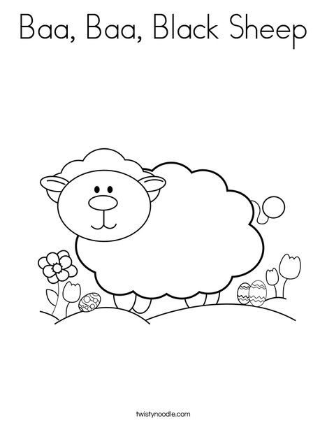 Baa Baa Black Sheep Coloring Page Twisty Noodle Coloring