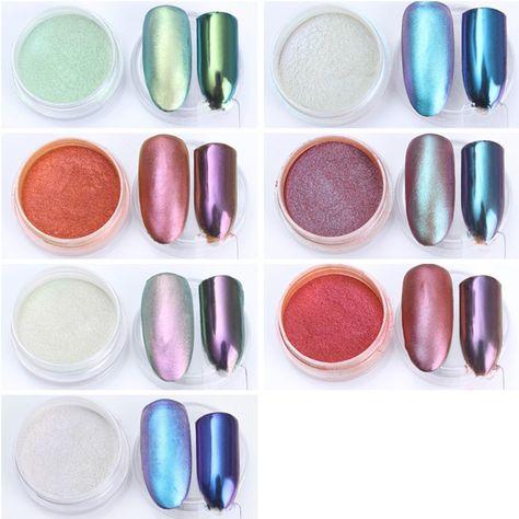 1g Mirror Metallic  Nail Glitter Powder Matte Pigment Nail Decoration Chrome Manicure Nail Art Glitter Dust Black Base