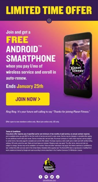 Hot Deals Alert Get A Free Lg Smartphone When You Join Planet Fitness Freephone Planetfitnesspromo Planet Fitness Workout Wireless Service Lg Phone