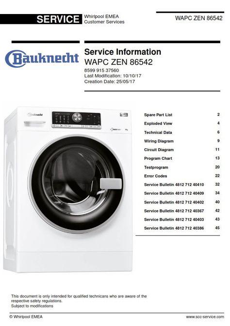 Bauknecht Wapc Zen 86542 Service Manual Technicians Guide Washing Machine Service Technician Maintenance Jobs