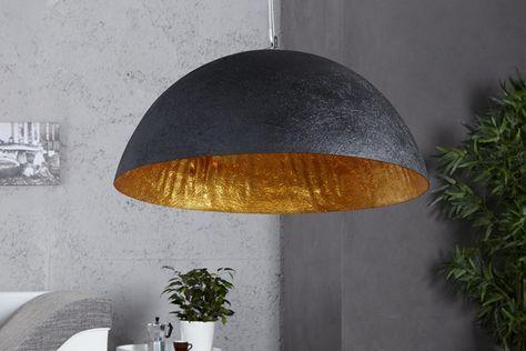 Stylische Hängeleuchte GLOW schwarz gold 50cm Hängelampe Lampen Leuchten