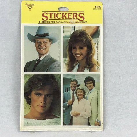J.R., Bobby. and Miss Ellie (Larry Hagman, Patrick Duffy, & Donna Reed). J.R. Ewing (Larry Hagman). Bobby Ewing (Patrick Duffy). Pam Ewing (Victoria Principal). Dallas TV Show. Ambassador/ Hallmark.