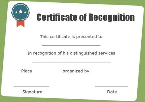 certificate of recognition blank template Certificate Pinterest