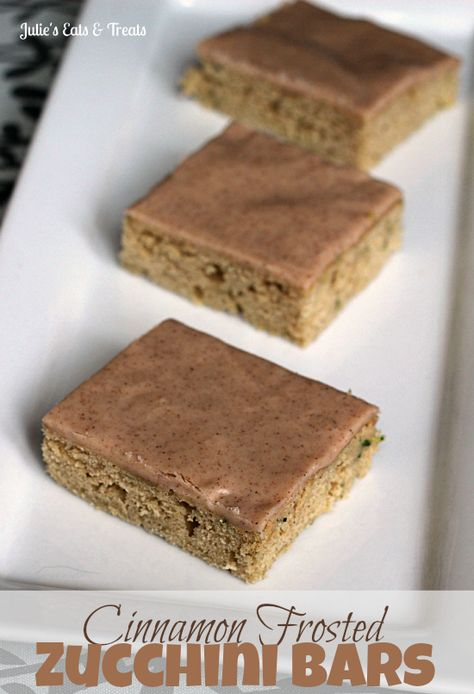 Cinnamon Frosted Zucchini Bars ~ Amazingly soft bars topped with a cinnamon frosting glaze!