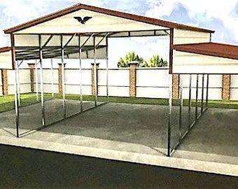 Garage Style Metal Carport Etsy In 2020 Building A Pole Barn Metal Carports Barn Design