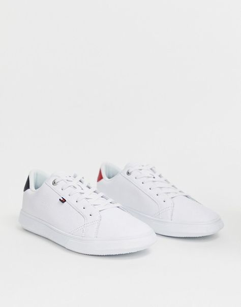 Tommy Hilfiger essential leather icon logo sneaker in white
