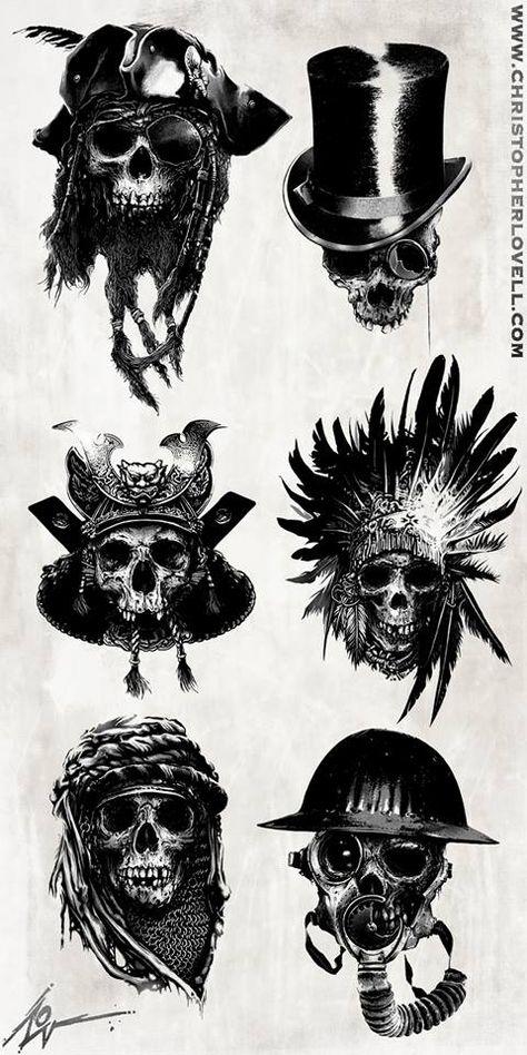 Skulls by Christopher Lovell/ I like the top right and bottom left tatuajes | Spanish tatuajes |tatuajes para mujeres | tatuajes para hombres | diseños de tatuajes http://amzn.to/28PQlav