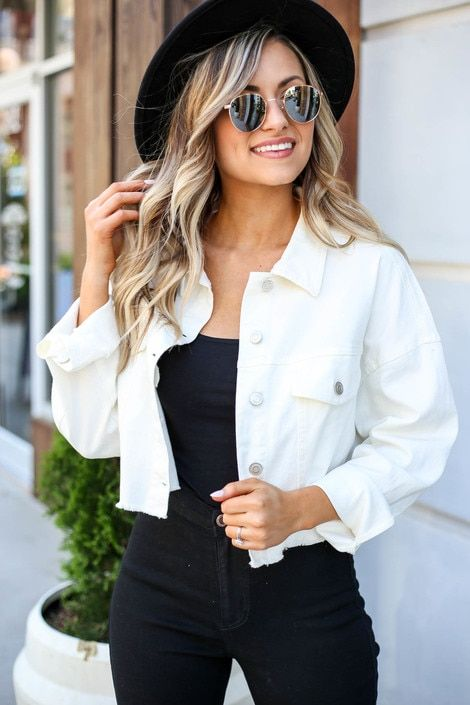 White Cropped Distressed Jean Jacket Spring Jacket Outfit White Denim Jacket Outfit White Jacket Outfit