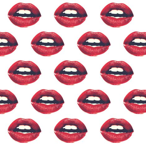 Red Lips Fabric by sleepymountain, Spoonflower digitally printed fabric, wallpaper, and gift wrap