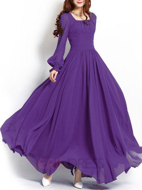 2e6ee854b8d Ericdress Solid Color Sqaure Neck Lantern Sleeve Maxi Dress Maxi Dresses