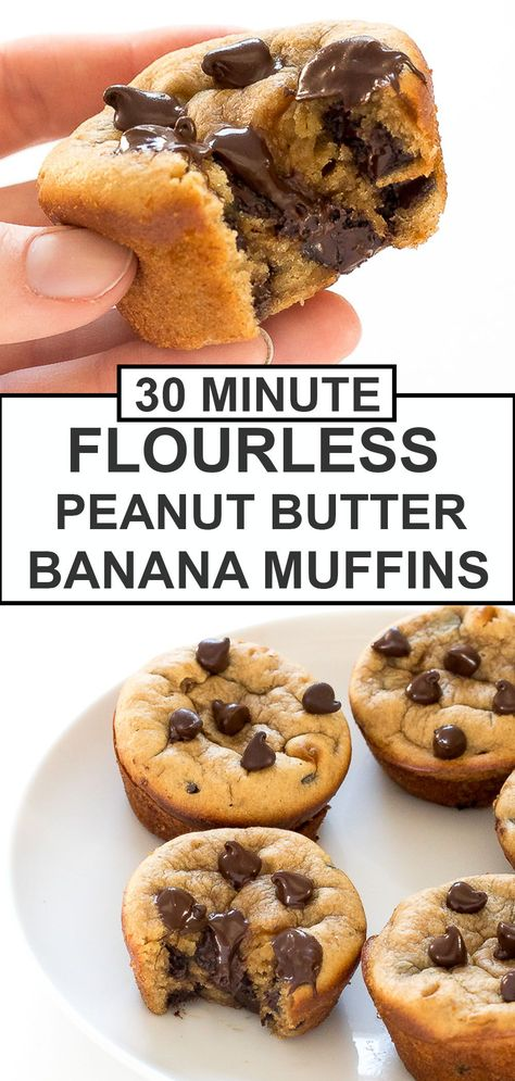 These Flourless Peanut Butter Banana Muffins couldn't be easier. Simply add the 8 ingredients to a blender and pulse to Gluten Free Desserts, Vegan Desserts, Delicious Desserts, Yummy Food, Healthy Sweets, Healthy Baking, Healthy Desserts With Bananas, Recipes Using Bananas, Healthy Banana Recipes