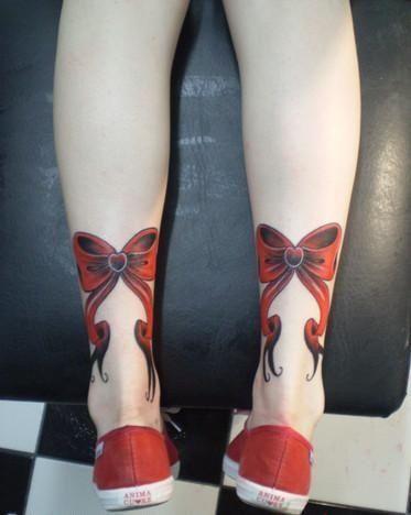 http://tattoomagz.com/wp-content/uploads/2013/10/rockabilly-tattoo-red-ribbons.jpg  For more Rockabilly Tattoo Love, click here: https://www.pinterest.com/thevioletvixen/rockabilly-vixen-tattoos/