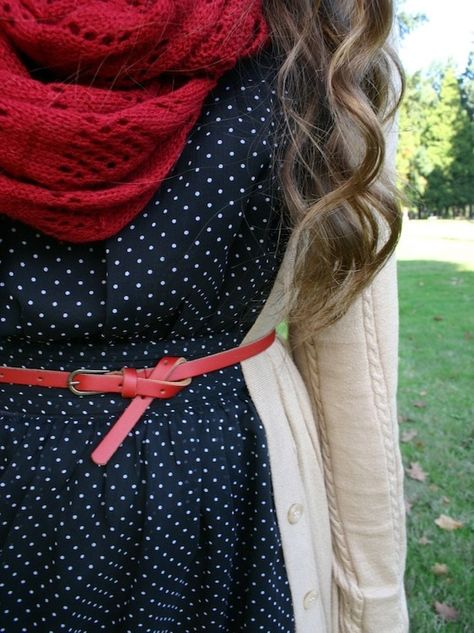polka dot dress with white cardigan and red chunky infinity scarf autumn outfit