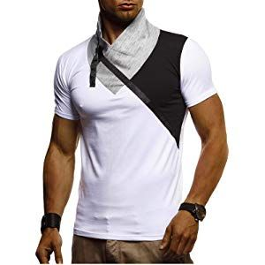 LEIF NELSON Herren Sommer T Shirt modernes Sweatshirt Crew