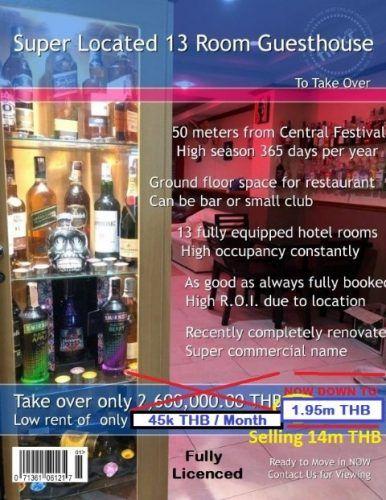 Pattaya Central 13 Room Guesthouse Bar Take Over #Farangmart