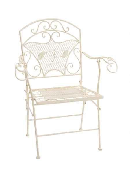 Nostalgie Gartensessel Stuhl Sessel Eisen Klappstuhl Antik Stil Creme Weiss Gartensessel Bistro Stuhle Stuhle