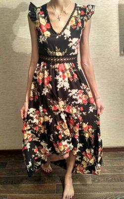51c179ed33b Robe maxi longue imprimé à fleurie dos nu swallowtail haut-bas v-cou mode  boho noir - Robe longue - Robes