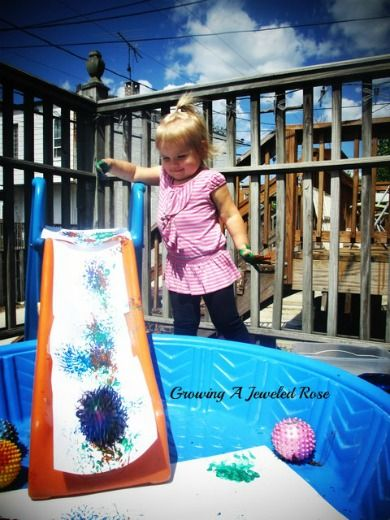 Slide Painting with Balls- messy fun