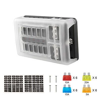 12-Way Blade Fuse Box Block Holder LED Indicator 12V 32V Auto Marine Waterproof