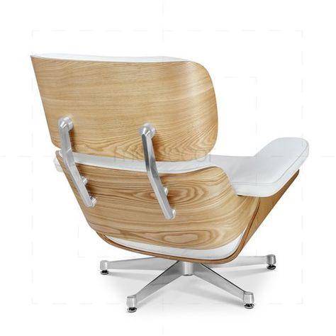 Eames Lounge Chair Und Ottomane Weiss Mit Eichenholz Interieur