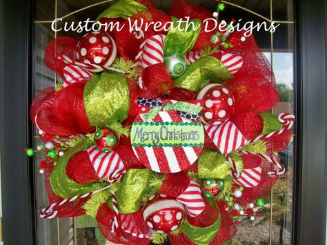 Merry Christmas Peppermint Deco Mesh Wreath by lilmaddydesigns, $125.00