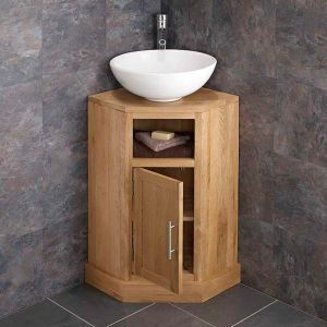 Corner Oak Vanity Unit With Large Round Basin Bundle Ceramic 400mm Dia Sink With Tap And Waste Corner Vanity Unit Oak Bathroom Furniture Corner Bathroom Vanity