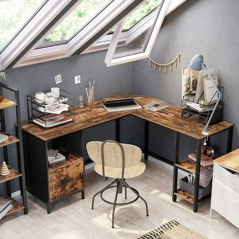 Ryan L-Shaped Home Office Desk w/ File Cabinet