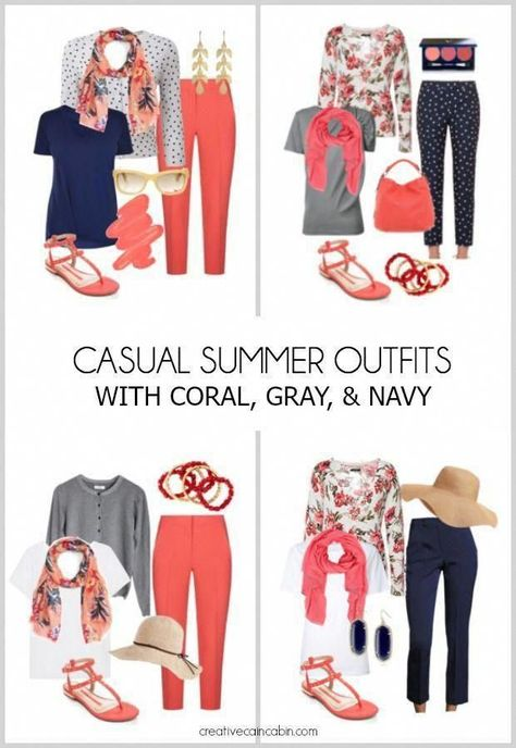 Casual Summer Outfits. Great For Travel. Mix and Match. Fashion Over 40. Coral, ...  #casual #Coral #fashion #great #match #Mix #Outfits #summer #Travel