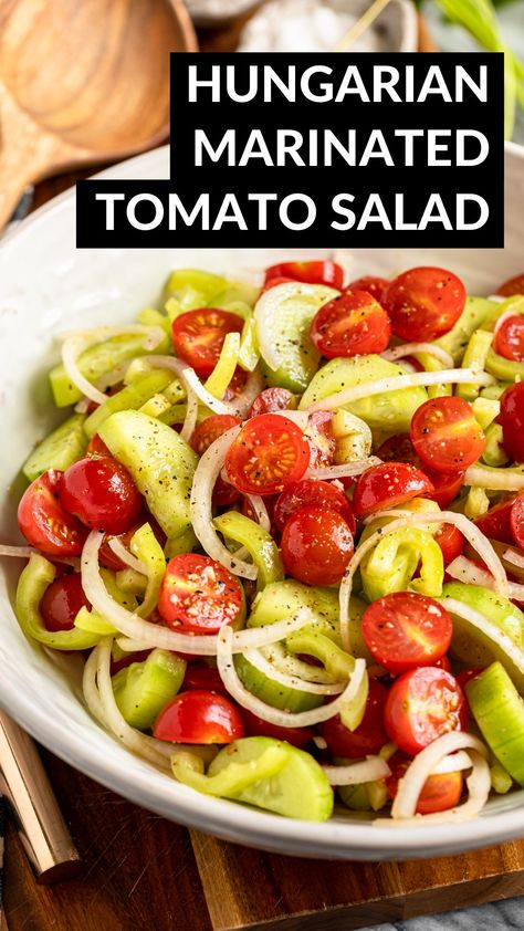 Hungarian Marinated Tomato Salad With Cucumbers & Onions