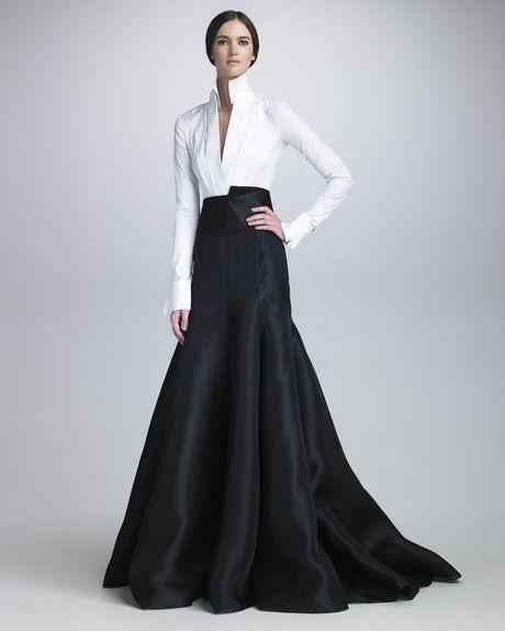 DONNA KARAN NEW YORK Black Long Gazar Evening Skirt Lustrous silk gazar. High waist. Fitted through hip and top of thigh. Godet insets shape voluminous A-line silhouette. Floor-sweeping hemline with trailing train back. Made in USA.