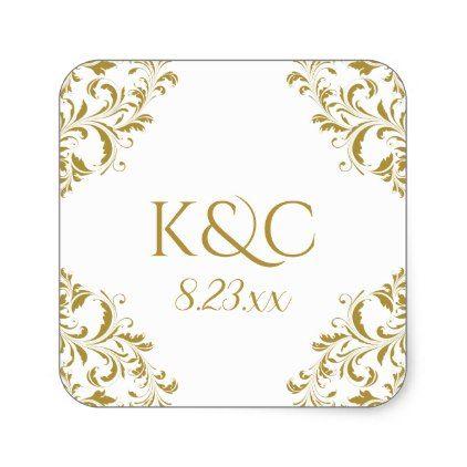 Elegant Vintage Wedding Label Nadine Gold 2 Zazzle Com Wedding Labels Vintage Wedding Wedding Gift Diy