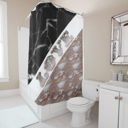 Black White And Rose Gold Marble Love Typography Shower Curtain Zazzle Com Rose Gold Marble Black And White Marble Black Curtains